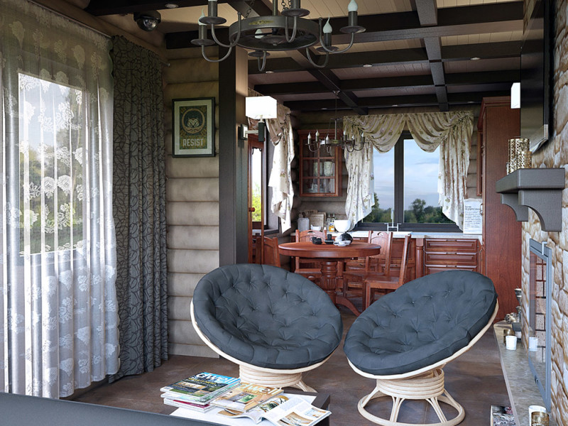 дизайн интерьера деревянного дома в Витебске